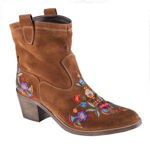ALDO Cognac Limeira floral embroidered Cowboy Boot